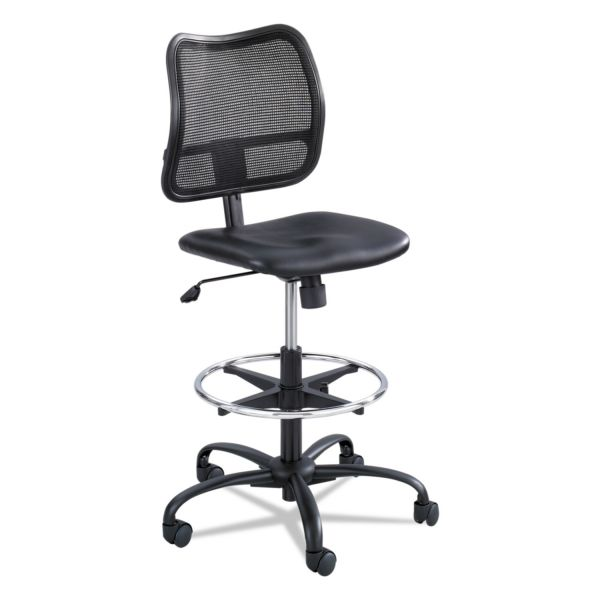 Safco Vue Series Mesh Extended Height Chair, Vinyl Seat, Black