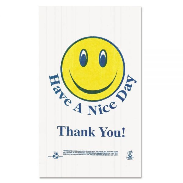 Barnes Paper Company Smiley Face Plastic Shopping Bags