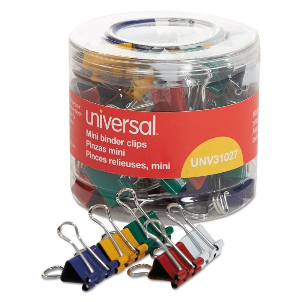 "Universal Mini Binder Clips, 1/4"" Capacity, 1/2"" Wide, Assorted Colors, 60/Pack"
