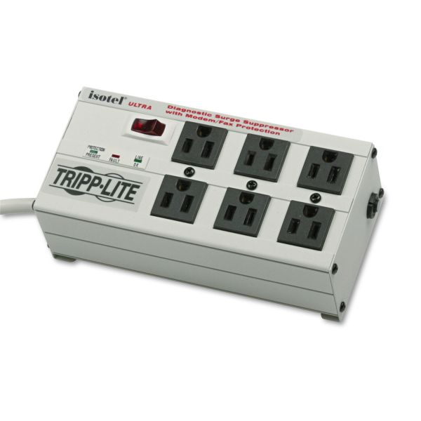Tripp Lite Isobar Surge Protector Metal RJ11 6 Outlet 6' Cord 3330 Joules