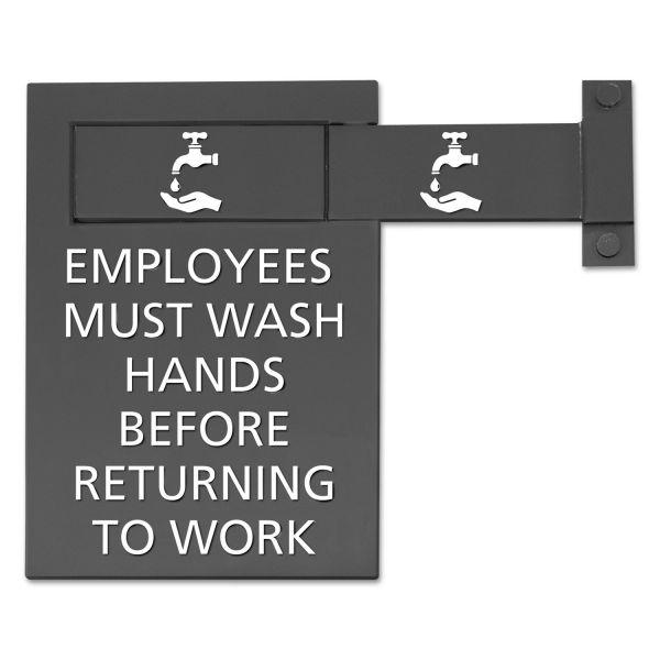 Advantus Pop-Out ADA Sign, Wash Hands, Tactile Symbol, Plastic, 6 x 9, Gray/White