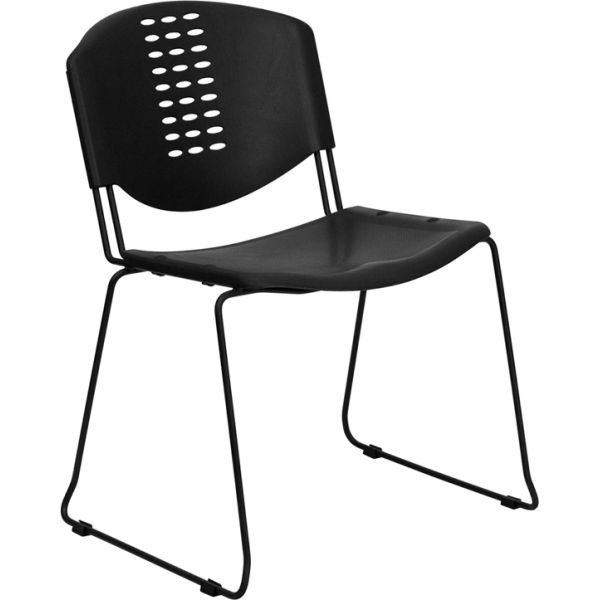 Flash Furniture HERCULES Series 400 lb. Capacity Black Plastic Stack Chair with Black Frame