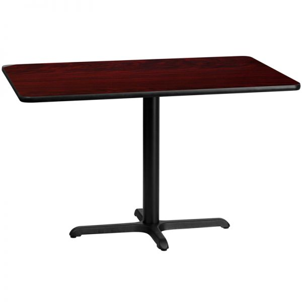 Flash Furniture 30'' x 48'' Rectangular Mahogany Laminate Table Top with 22'' x 30'' Table Height Base
