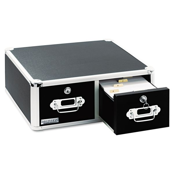 IdeaStream Vaultz Locking 6 x 4 Two-Drawer Index Card Box, 3,000-Card Capacity, Black