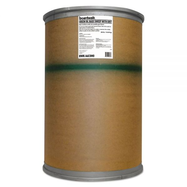 Boardwalk Oil-Based Sweeping Compound, Grit, Green, 300lbs, Drum