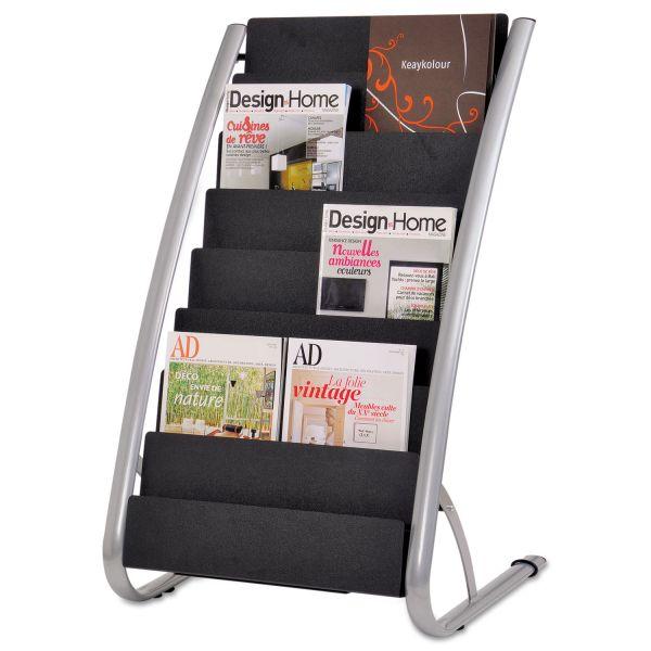 Alba Literature Floor Rack, 16 Pocket, 23 x 19 2/3 x 36 2/3, Silver Gray/Black