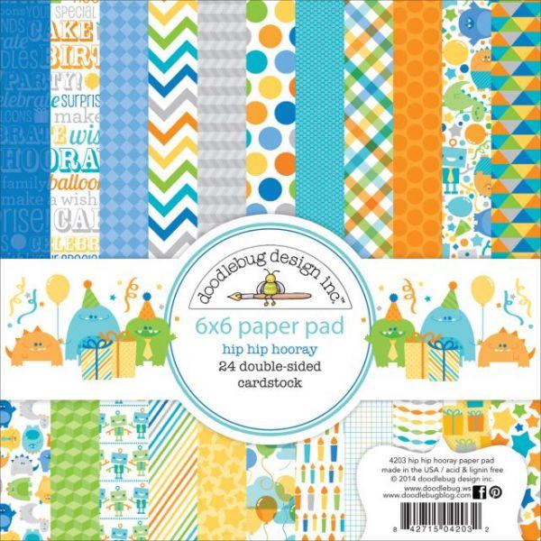 "Hip Hip Hooray Paper Pad 6""X6"" 24/Sheets"