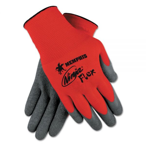 Memphis Ninja Flex Latex-Coated Palm Gloves N9680M, Small, Red/Gray, 1 Dozen