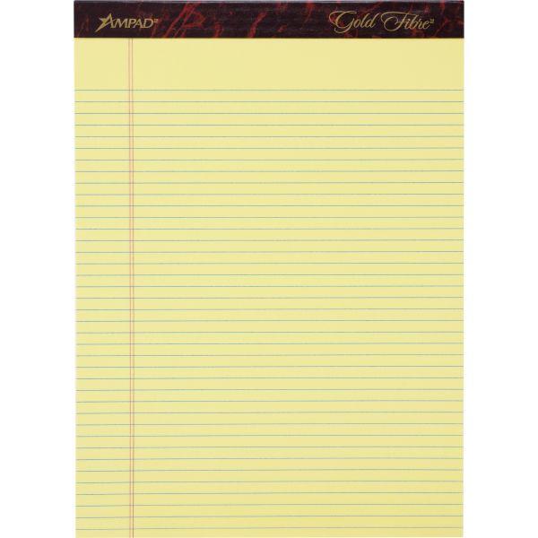 Ampad Gold Fibre Pads, 8 1/2 x 11 3/4, Canary, 50 Sheets, Dozen