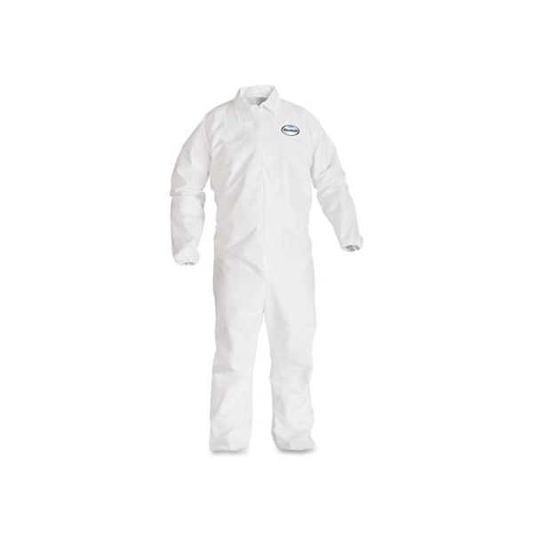 KleenGuard* A40 Elastic-Cuff and Ankles Coveralls, White, Large, 25/Case