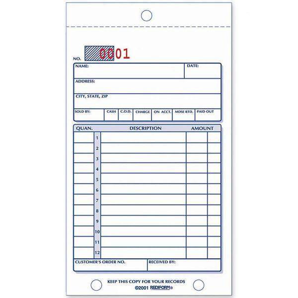 Rediform Sales Book, 3 5/8 x 6 3/8, Carbonless Triplicate, 50 Sets/Book