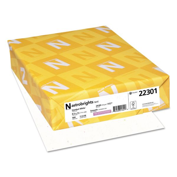 Astrobrights Color Paper, 24 lb, 8 1/2 x 11, Stardust White, 500 Sheets/Ream