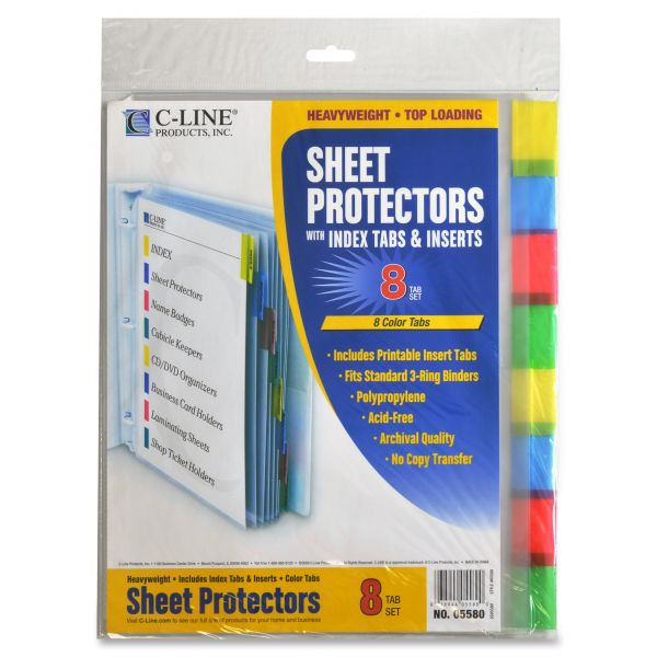 C-line Top Loading Sheet Protector With Index Tabs & Inserts