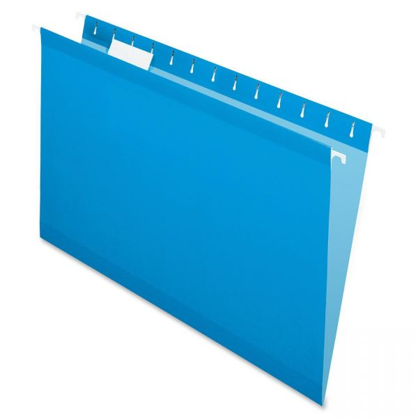 Pendaflex Reinforced Hanging Folders, 1/5 Tab, Legal, Blue, 25/Box