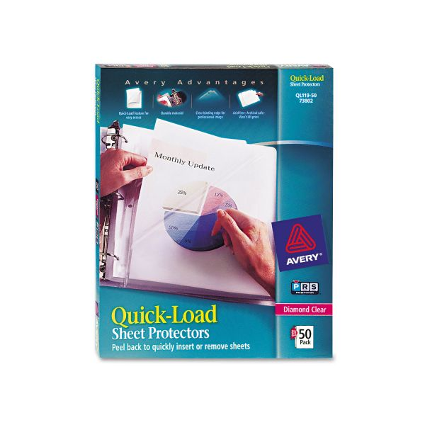 Avery Quick Top & Side Loading Sheet Protectors, Letter, Heavy Weight, Diamond Clear, 50/Box