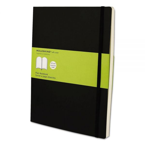 Moleskine Classic Softcover Notebook, Plain, 10 x 7 1/2, Black Cover, 192 Sheets