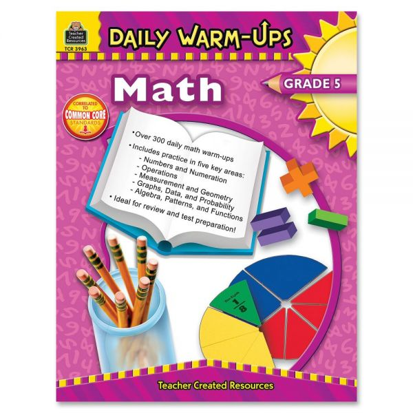 Teacher Created Resources Gr 5 Math Daily Warm-Ups Book Education Printed Book for Mathematics