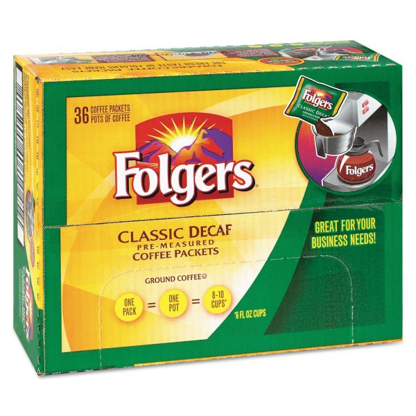 Folgers Coffee, Classic Roast, Decaf, 0.9 oz Bag, 36/Carton