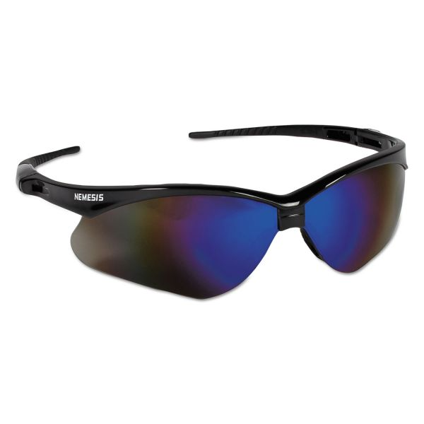 Jackson Safety* Nemesis Safety Glasses, Black Frame, Blue Mirror Lens
