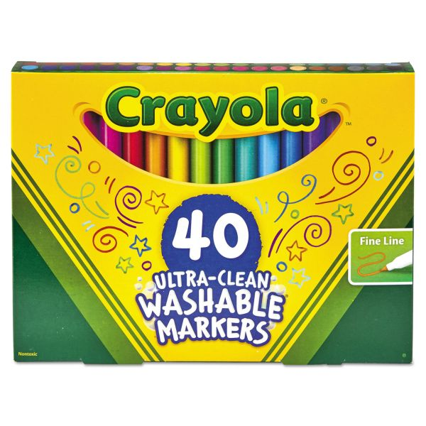 Crayola Ultra-Clean Washable Classic Markers, Fine Point, Classic Colors, 40/Set
