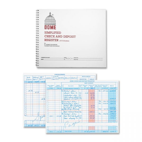 Dome Publishing Check & Deposit 10 Column Ledger Book