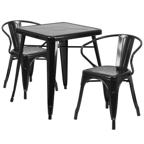 Flash Furniture 23.75'' Square Black Metal Indoor-Outdoor Table Set with 2 Arm Chairs
