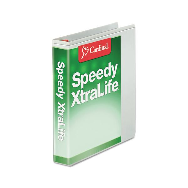 "Cardinal Speedy XtraLife Non-Stick Locking 3-Ring View Binder, 1"" Capacity, Slant-D Ring, White"