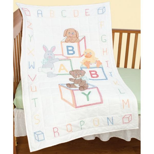 "Stamped White Quilt Crib Top 40""X60"""