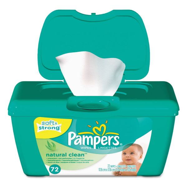 Pampers Natural Clean Baby Wipes, Unscented, White, Cotton, 72/Tub
