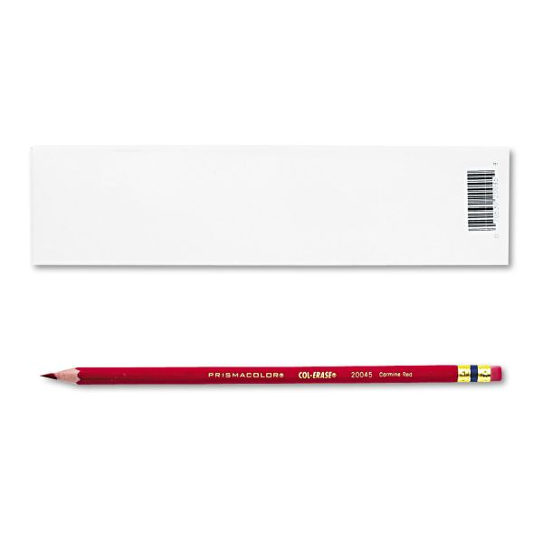 Prismacolor Col-Erase Pencil w/Eraser, Carmine Red Lead/Barrel, Dozen