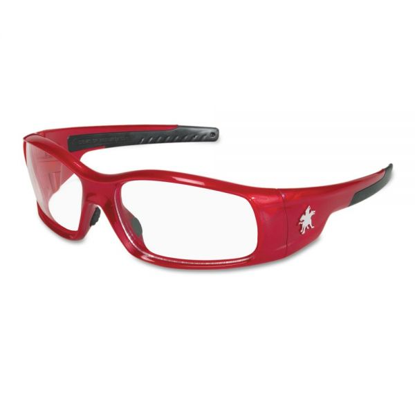 Crews Swagger Safety Glasses, Red Frame, Clear Lens
