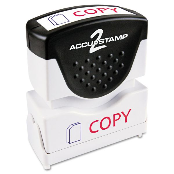ACCUSTAMP2 Pre-Inked Shutter Stamp with Microban, Red/Blue, COPY, 1 5/8 x 1/2