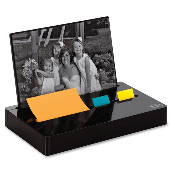 "Post-it Pop-up Notes/Flag Dispenser Plus Photo Frame with 3 x 3 Pad, 50 1"" Flags, Black"