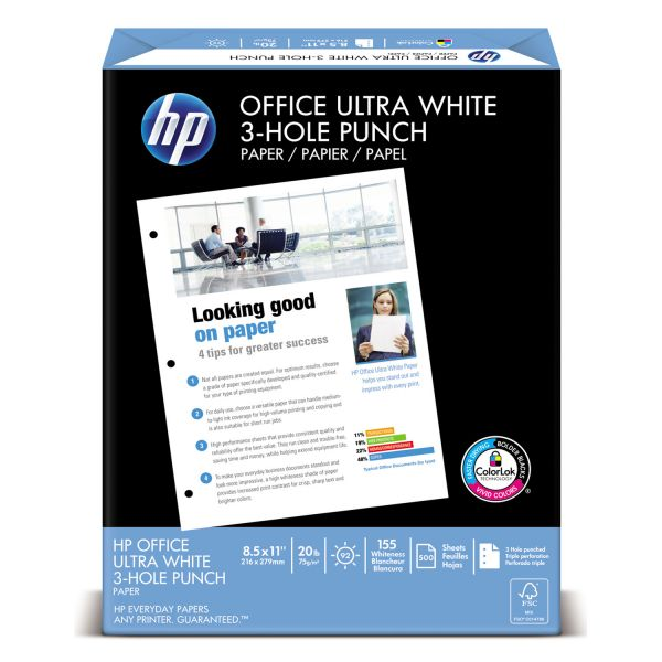 HP Office Three-Hole Punched White Copy Paper