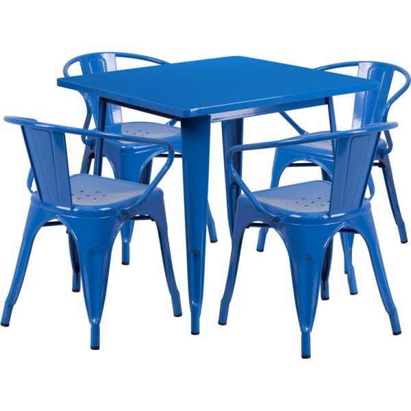 Flash Furniture 31.5'' Square Blue Metal Indoor-Outdoor Table Set with 4 Arm Chairs