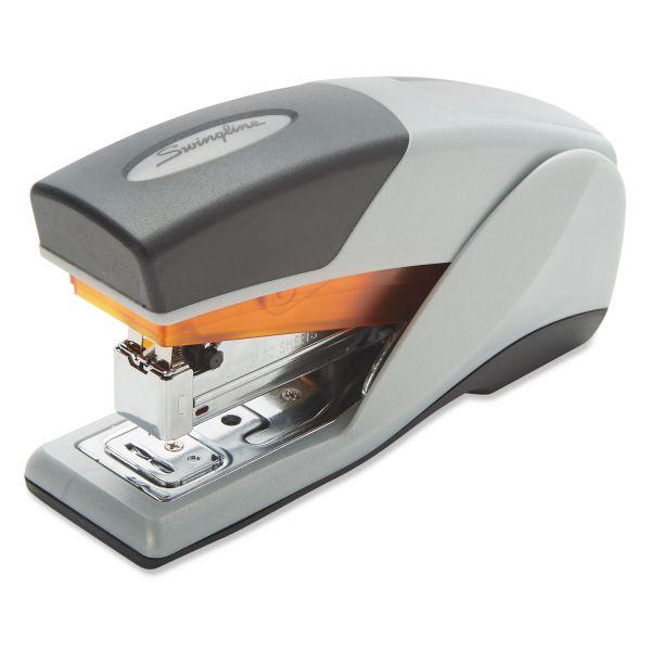 Swingline Optima 25 Reduced Effort Compact Stapler, Half Strip, 25-Sheet Cap., Gray/Orange