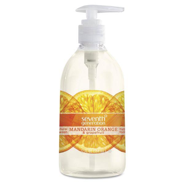Seventh Generation Natural Hand Wash, Mandarin Orange & Grapefruit, 12 oz Pump Bottle