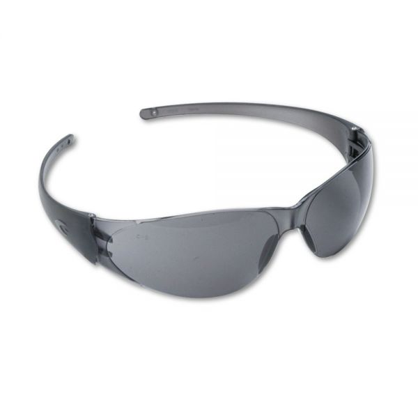 Crews Checkmate Wraparound Safety Glasses, Clear Polycarbonate Frame, Gray Lens