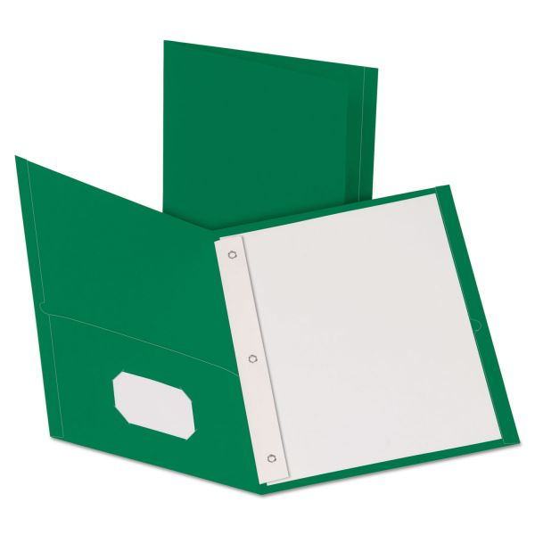 Oxford Hunter Green Two Pocket Folders with Fasteners