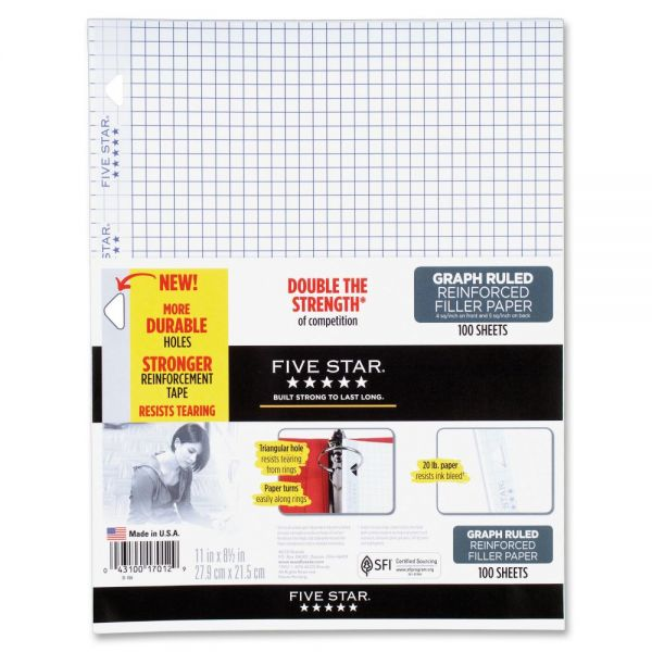 Five Star Reinforced Quad Ruled Loose Leaf Paper
