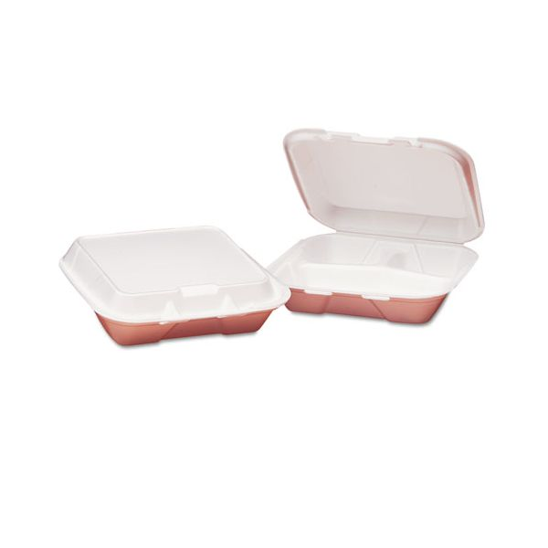 Genpak Foam Hinged Carryout Container, 3-Compartment, 8-4/9x7-5/8x2-3/8, White, 100/Bag