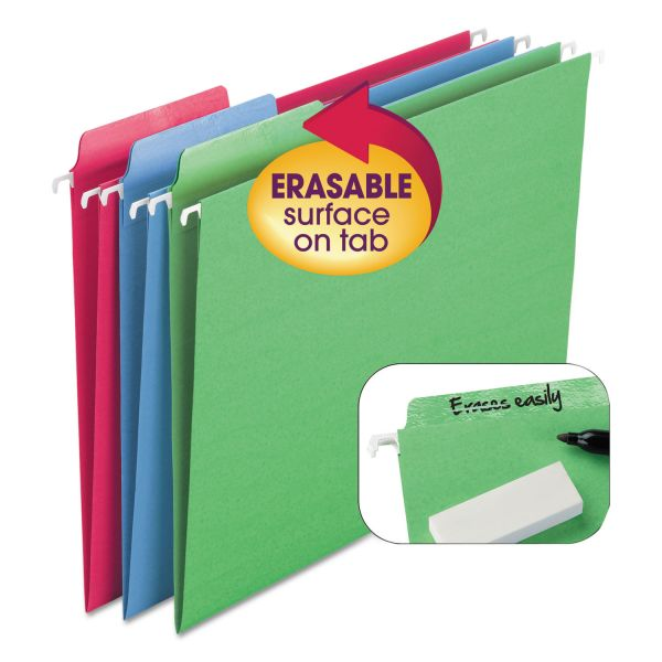 Smead Erasable FasTab Hanging Folders, 1/3-Cut, Letter, 11 Point St, Assorted, 18/Box