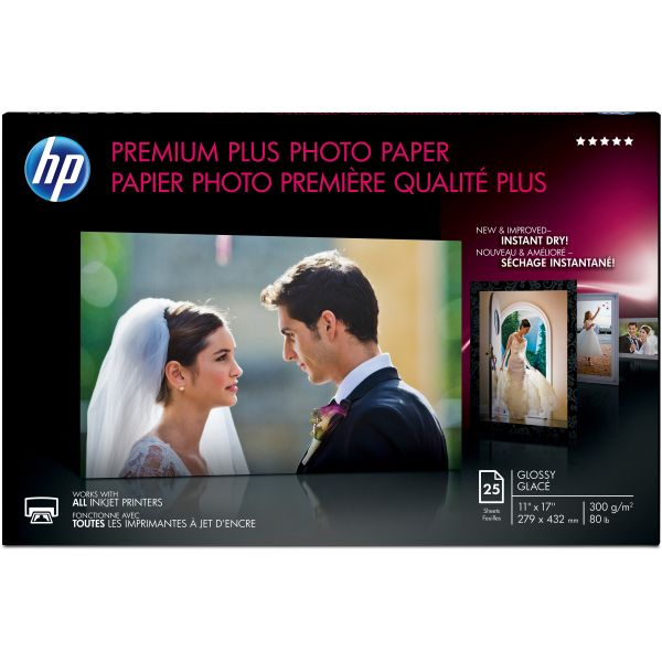 HP Premium Plus Photo Paper, 75 lbs., Glossy, 11 x 17, 25 Sheets/Pack
