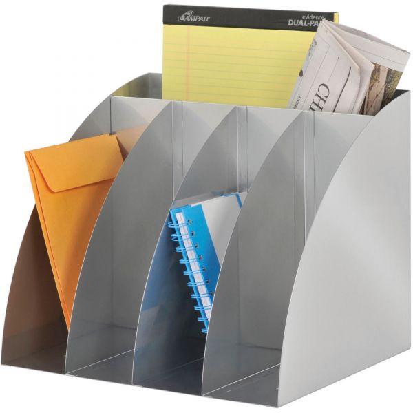 SteelMaster 4-Way Corner Organizer, 5 Compartments, 11 x 13 x 11, Steel, Silver