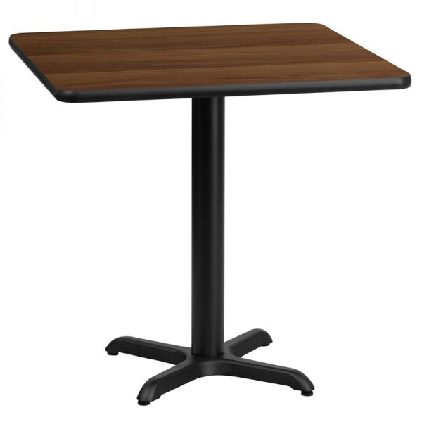 Flash Furniture 24'' Square Walnut Laminate Table Top with 22'' x 22'' Table Height Base