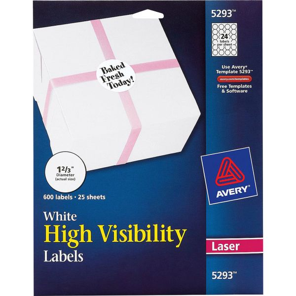 Avery High-Visibility Round Permanent ID Labels, Laser, 1 2/3 dia, White, 600/Pack