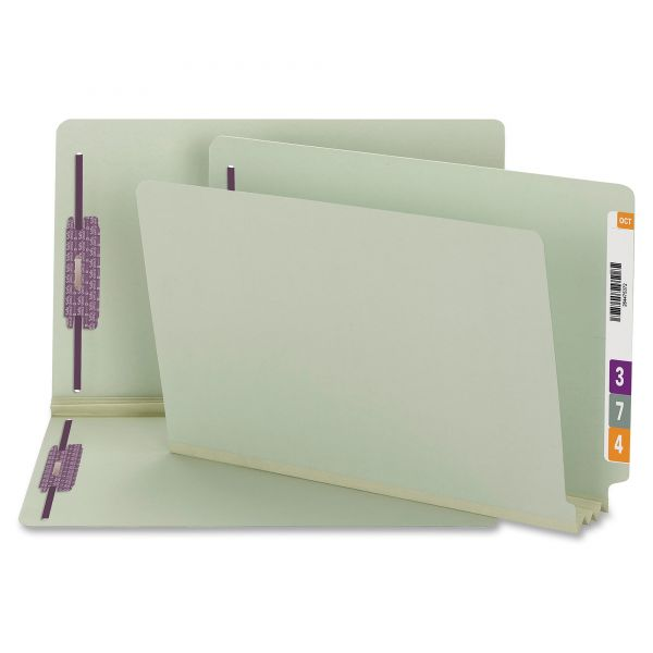 Smead 37725 Gray/Green End Tab Pressboard Fastener File Folders with SafeSHIELD Fasteners