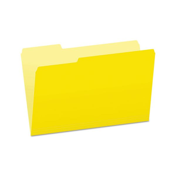Pendaflex Colored File Folders, 1/3 Cut Top Tab, Legal, Yellow, Light Yellow, 100/Box