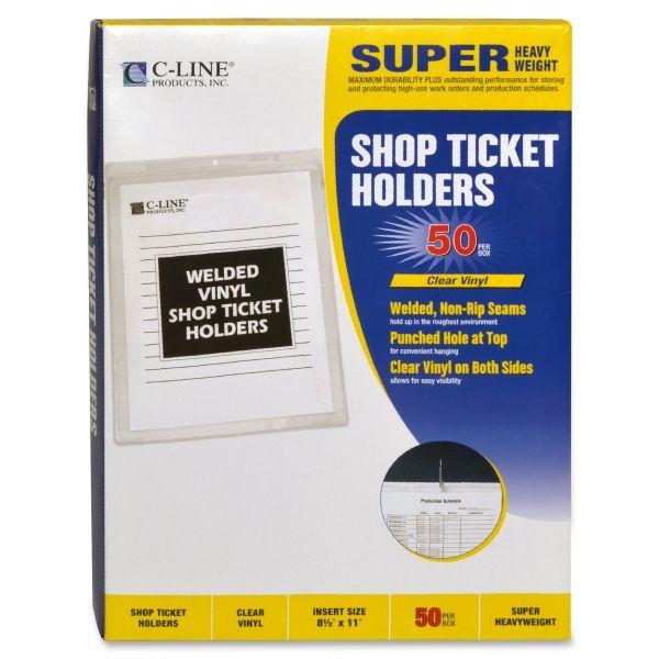 C-Line Clear Vinyl Shop Ticket Holder, Both Sides Clear, 15 Sheets, 8 1/2 x 11, 50/BX