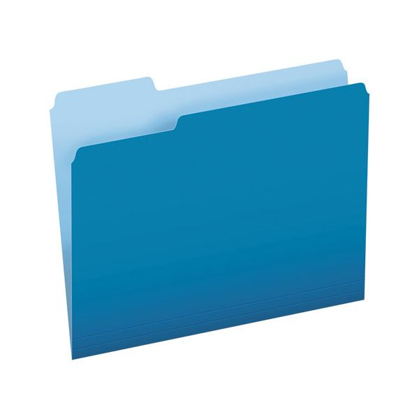 Pendaflex Colored File Folders, 1/3 Cut Top Tab, Letter, Blue/Light Blue, 100/Box